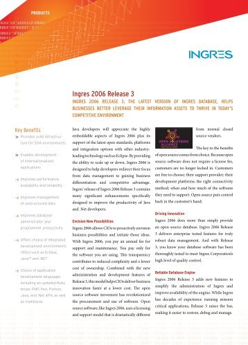 Ingres 2006 Release 3 - Actian