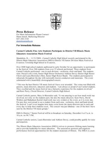 Press Release - Carmel Catholic High School