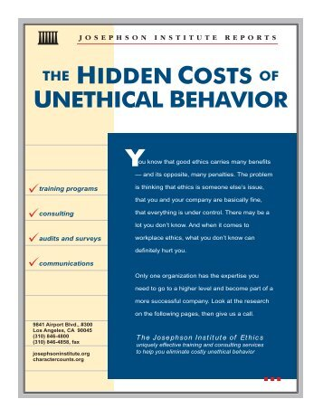 """is the american society predisposed to ethical or unethical behavior Ally unacceptable to the large community"""" (jones, 1991  table 471  distinguishing between ethical/unethical and selfish/unselfish behaviors   many of us engage in altruistic lying  viduals, are more prone to commit  unethical acts that."""