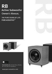 Active Subwoofer Owner's Manual - Pure Acoustics, Inc.