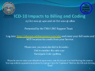 ICD-10 Impacts to Billing and Coding - Tricare