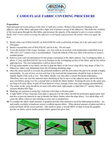 camouflage fabric covering procedure - Arizona Model Aircrafters