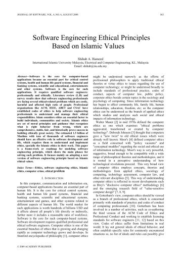 Software Engineering Ethical Principles Based on Islamic Values