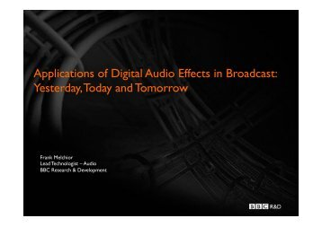 Applications of Digital Audio Effects in Broadcast - Visual Soundscape