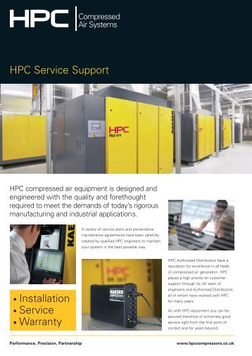 HPC Service Support Brochure - HPC Compressed Air Systems