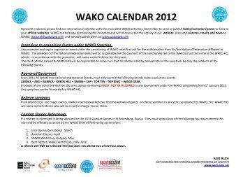WAKO CALENDAR 2012 - Kickboxing
