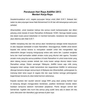 Perutusan Hari Raya Aidilfitri 2013 Menteri Kerja Raya
