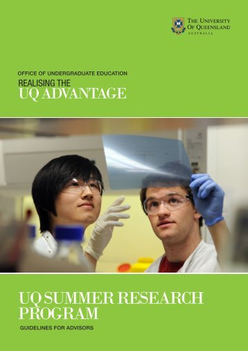 UQ Summer Research Program Guidelines for Advisors - School of ...