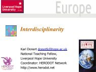 Interdisciplinarity - HERODOT Network for Geography in Higher ...