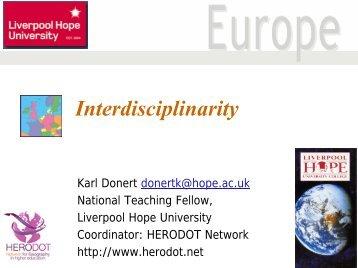 Interdisciplinarity - HERODOT Network for Geography in Higher ...