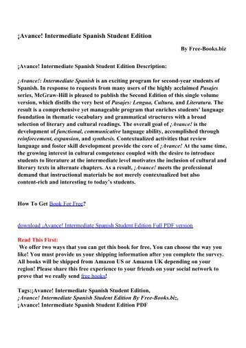 Avance! Intermediate Spanish Student Edition - PDF eBooks Free ...