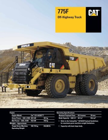 Specalog for 775F Off-Highway Truck, AEHQ5748