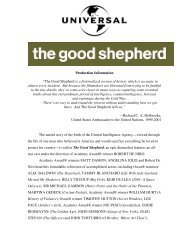 """Production Information """"The Good Shepherd is a fictionalized ..."""