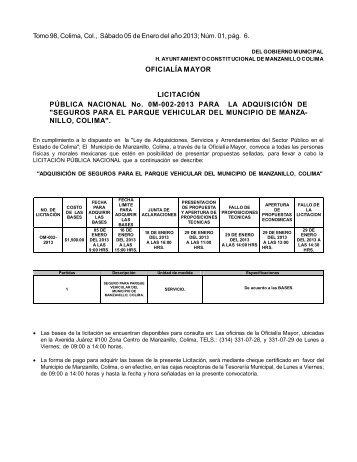 OFICIALÍA MAYOR LICITACIÓN PÚBLICA NACIONAL No. 0M-002 ...