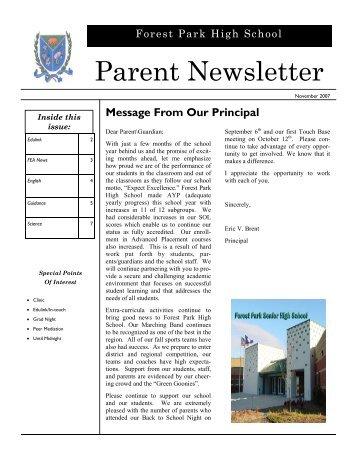 November 2007 newsletter - Forest Park High School