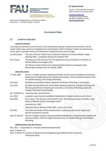 CV Publications short - Dr. Susanne Gruß