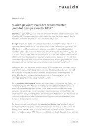 """ruwido gewinnt zwei der renommierten """"red dot design awards 2012"""""""