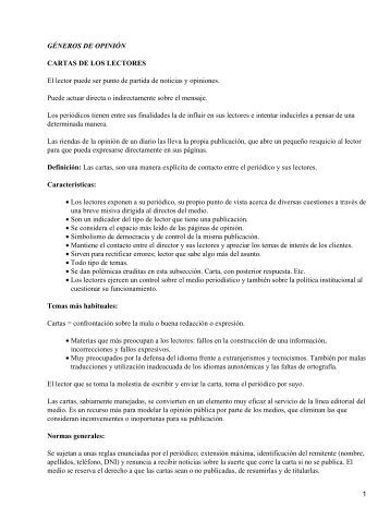 GÉNEROS DE OPINIÓN CARTAS DE LOS LECTORES El lector ...