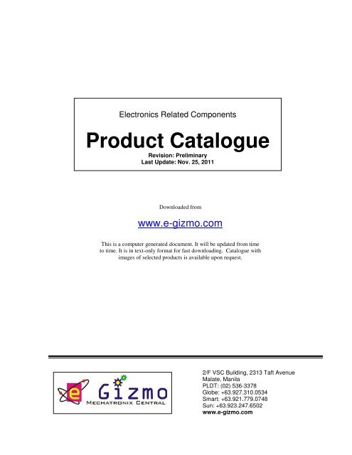 Electronics Related Components Product Catalogue - E-Gizmo