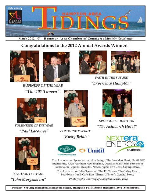 Congratulations to the 2012 Annual Awards Winners!