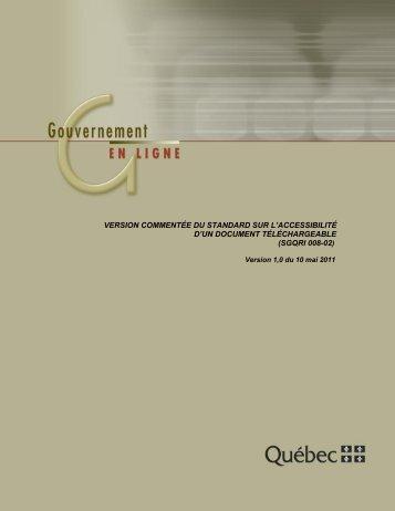 Standard sur l'accessibilité d'un document téléchargeable