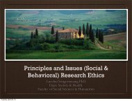 Principles and Issues (Social & Behavioral) Research Ethics