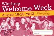 Welcome Week 2013 Schedule of Events - Winthrop University
