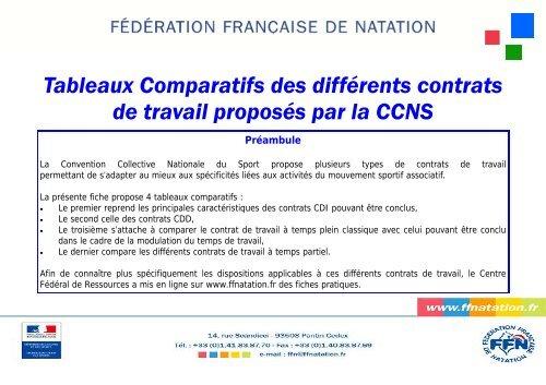 Tableaux Comparatifs Des Contrats De Travail Proposa C S Par La Ccns