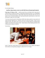 one2free makes dreams come true with Niki Chow at Hong ... - CSL