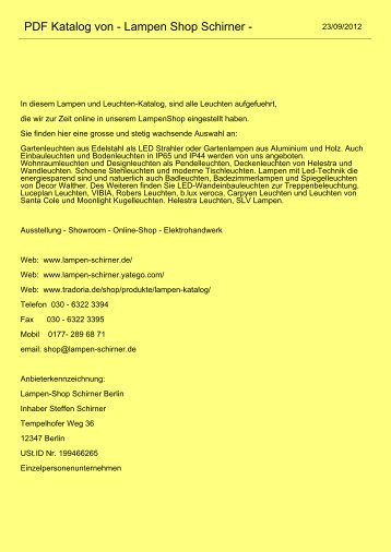 PDF Katalog von - Lampen Shop Schirner -