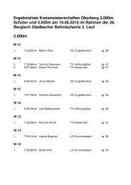Kreismeisterschaften Oberberg 2.000 m Schüler ... - LVN Oberberg