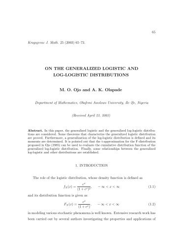On the generalized logistic and log-logistic distributions