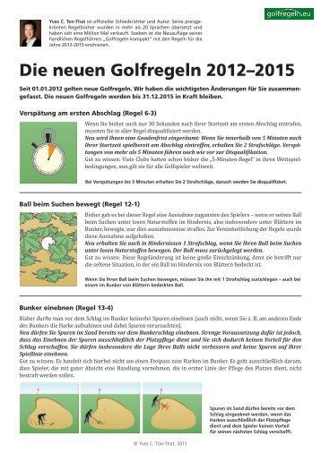 Die neuen Golfregeln 2012–2015