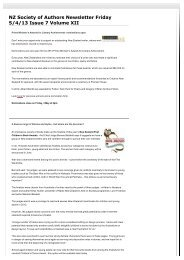 NZ Society of Authors Newsletter Friday 5/4/13 Issue 7 Volume XII