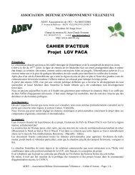 CAHIER D'ACTEUR Projet LGV PACA - ADEV