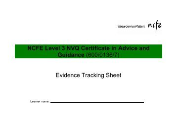 ncfe evidence tracking sheet Equality & diversity level 2 - as3 essay ncfe equality & diversity level 2 don't forget to keep updating your learner tracking sheet with the dates and.