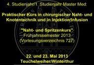 4. Studienjahr/1. Studienjahr Master Med - UniversitätsSpital Zürich
