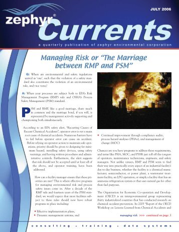 Managing Risk or 'The Marriage between RMP and PSM' - Zephyr ...