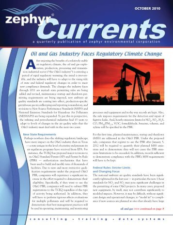 Oil and Gas Industry Faces Regulatory Climate Change - Zephyr ...
