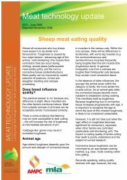 Sheep meat eating quality - June 2000 - Meat Industry Services