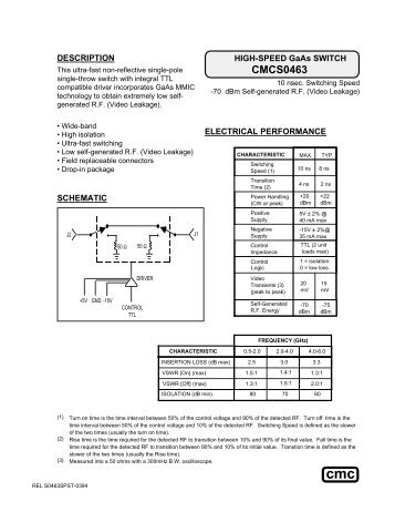 Cmcs0463 Custom Microwave Components