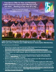 Free Bonus Offer for New and Renewing CABA Research ...