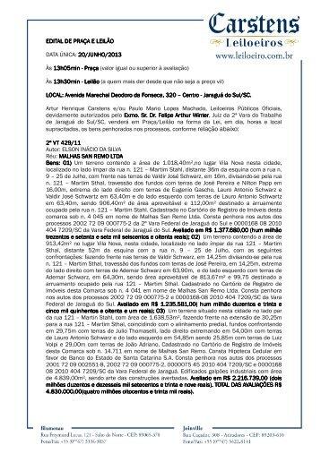 EDITAL DE PRAÇA E LEILÃO EDITAL DE PRAÇA E ... - D.M System