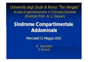 Sindrome Compartimentale Addominale - Cattedra Chirurgia Tor ...
