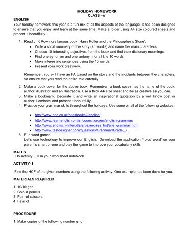 HOLIDAY HOMEWORK CLASS –VI ENGLISH Your holiday ...