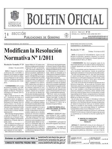 Modifican la Resolución Normativa Nº 1/2011 - Boletín Oficial de la ...