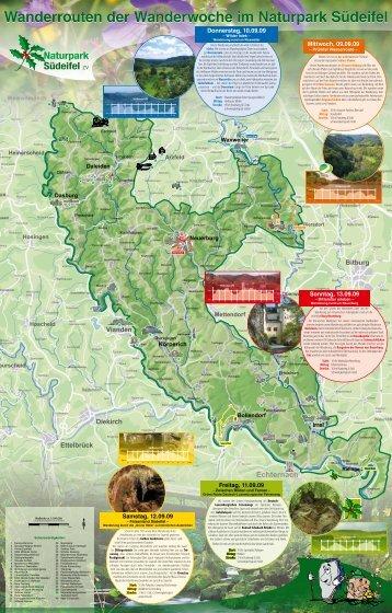 Wanderrouten der Wanderwoche im Naturpark Südeifel