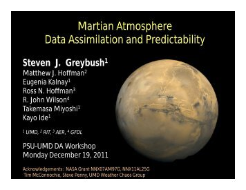 Martian Atmosphere Data Assimilation and Predictability