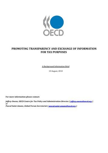 promoting transparency and exchange of information for tax purposes