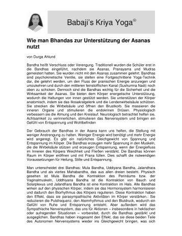 Wie man Bhandas zur Unterstützung der Asanas nutzt